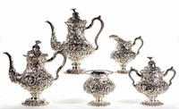 Steiff repousse five-piece sterling tea and coffee service