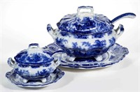 "Large selection (185 pieces) of Staffordshire Transferware Flow Blue in the ""Fairy Villas"" pattern"