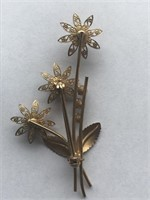 Delicate 3- Tier Amethyst Flower Brooch