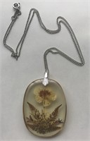Lovely Floral Design Resin with Sterling Chain