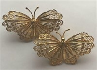 Stunning Pair of Butterfly Brooches