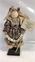 "12"" tall wood and fabric figurine"