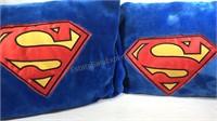 2 Plush Superman Logo Pillows 28x17