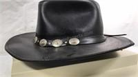 Henschel  Black leather cowboy hat size XL Made