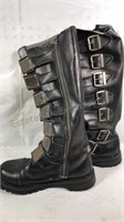 Demonia Tall black leather boots with metal