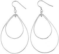 Plain Silver Dangle and Hook Earring