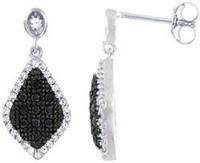 Silver Earrings w/ Black & White Cubic Zirconia