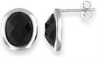 Lovely Sterling Silver Earrings-Black Onyx
