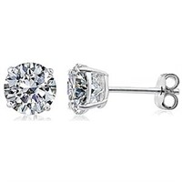 Silver Earrings with 4mm Round Stud CZ