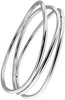 Three-Row Plain Silver Bangle
