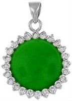Silver and Jade Pendant with CZ