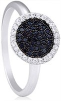 Silver Ring with Micro Set Black & White CZ
