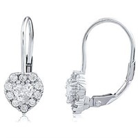 Silver Heart Lever Back Earrings With CZ