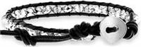 Single Wrap Bracelets w/White Color Crystal Beads