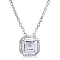 Stunning Silver Necklace with Square Baguette CZ