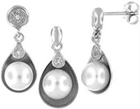Silver and Freshwater Pearl Earring and Pendant Se