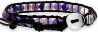 Single Wrap Bracelet w/Light & Dark Amethyst Beads