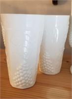 Beautiful White milk glasses & pitcher grape &