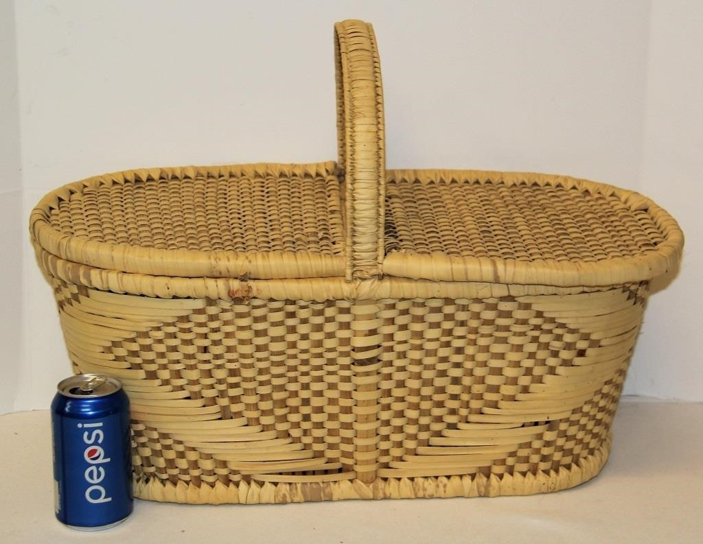 Cool Pattern Woven Picnic Basket Big Al S Auction