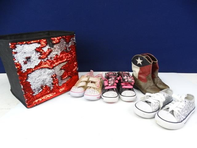 df4202d9ab Red Sequin Box Filled with Kids Shoes | LL Auctions LLC