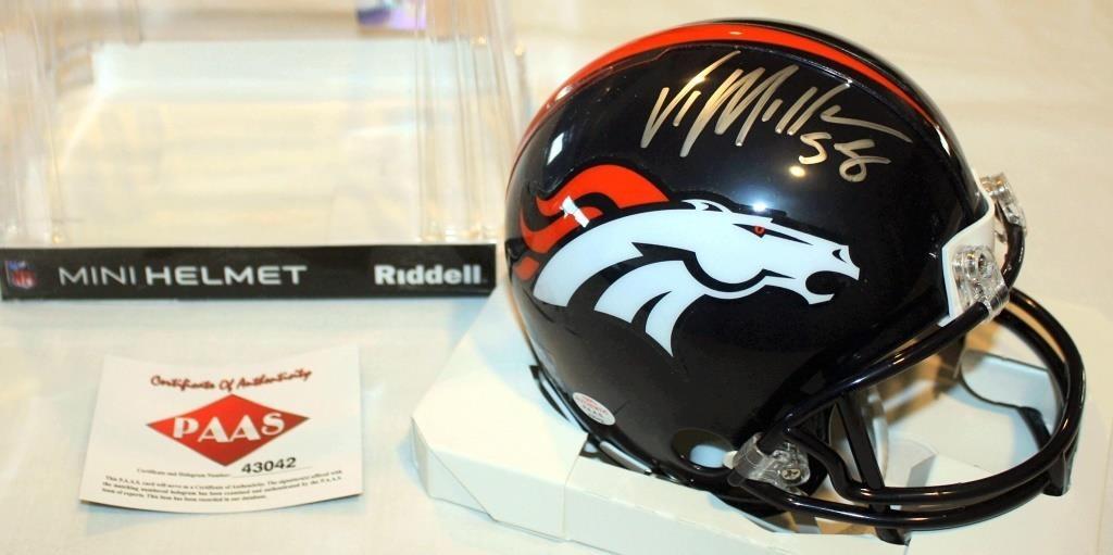 35e41f0d Von Miller #58 Den Broncos Autographed Mini Helmet | Linnebur ...