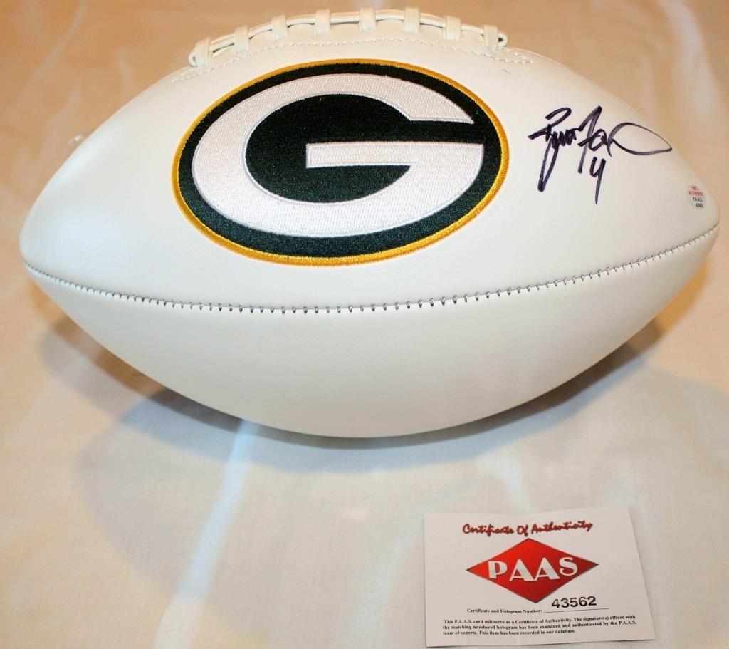 detailed look bd5df 7d4fd Brett Favre #4 Autographed GB Packers Football | Linnebur ...