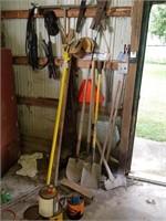 Shovels, rakes, ax