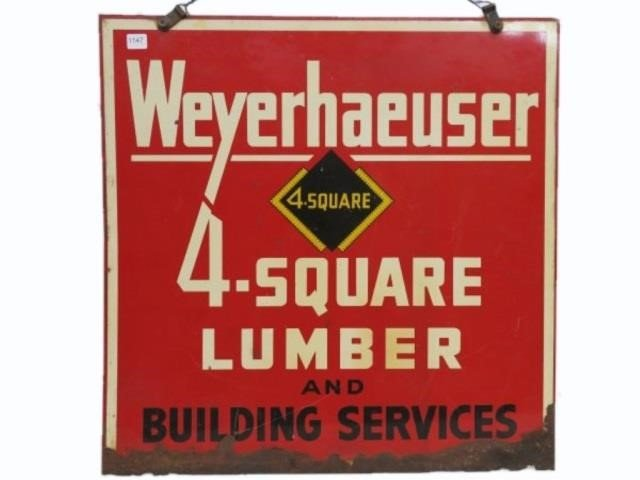 WEYERHAEUSER 4 SQUARE LUMBER DS METAL | SHACKELTON AUCTIONS INC