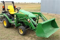 2013 John Deere 1025R Tractor, w/JD H120 FE Loader, QA Bucket, diesel eng, 3-pt, pto, roll bar, MFWD, 123 hrs, exc cond, always kept inside, SN: 1LV1025RADH114416 (view 1)