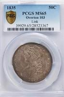 50C 1835 O-103. PCGS MS65