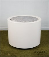 Fiberglass cylinder planter/side table