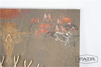 Mixed media artwork with bones, titled Flaming Man