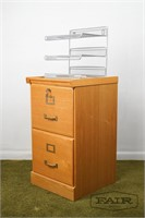 Wooden file cabinet with metal paper organizer