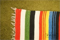 Vintage wool Mexican serape colorful woven blanket