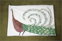 Very long hand painted table runner on canvas