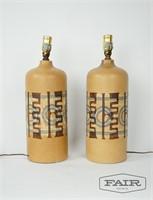 Pair of Edith Cohen ceramic Israeli MCM lamps
