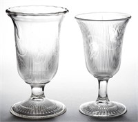 Rare Ribbed Ivy celery made from the sugar bowl mold, and unrecorded celery made from the goblet mold - Winfrey Collection