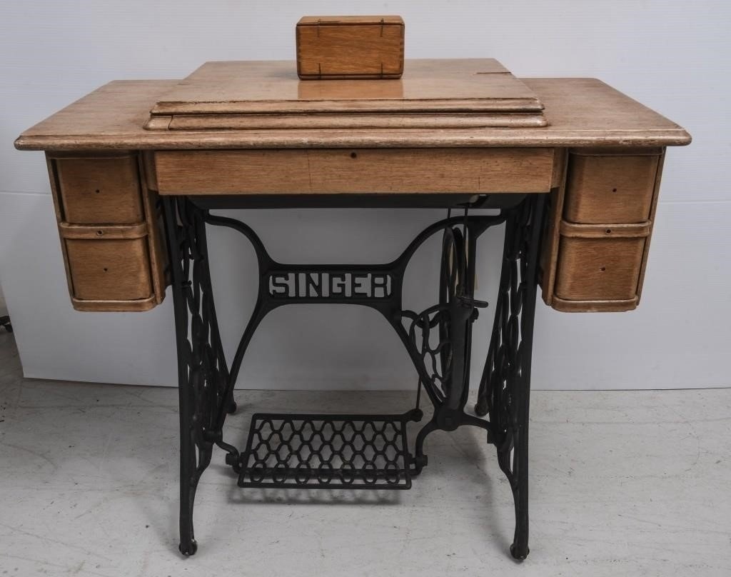 Antique Singer Sewing Machine Table & Spare Parts | The K