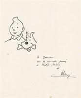 Hergé. Dessin original