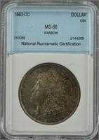 1883-CC Morgan Silver Dollar MS 66 Rainbow