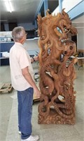 7 Ft Wood Carved Dragon Scultpure