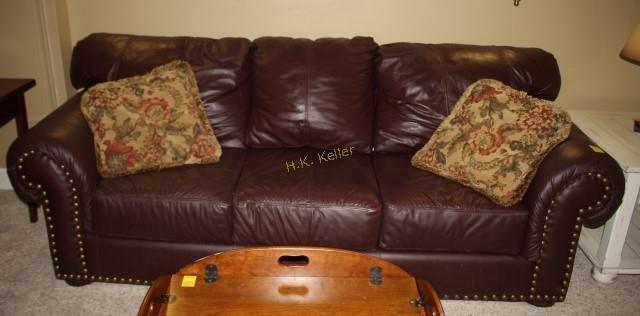 Groovy Faux Leather Sofa With Throw Pillows H K Keller Machost Co Dining Chair Design Ideas Machostcouk