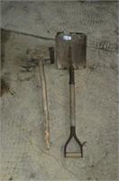 Old primitive shovel and mallet