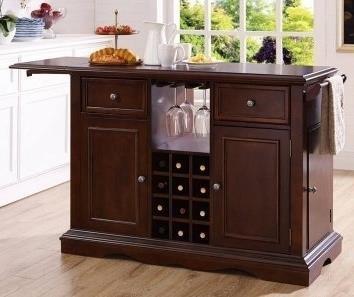 Alton Dark Cherry Kitchen Island with Wine rack | DeLaney ...