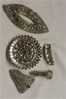 Rhinestone brooches, clips and dress trim,