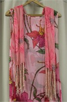 Vintage beaded sequined dress wrap with fringed
