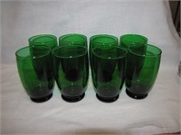 "Green Anchor Hocking 4&1/2"" Glasses"