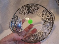 """Vintage Ornate 6&1/4"""" Bowl with Silver Overlay"""