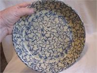 """Blue Sponge Crock Pie Plate 9&3/4"""""""
