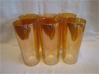 """6 Vintage Carnival Glass 6&1/2"""" Tumblers"""